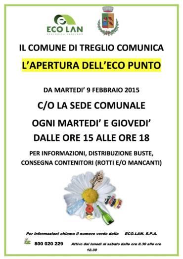 APERTURA ECO PUNTO C/O COMUNE DI TREGLIO
